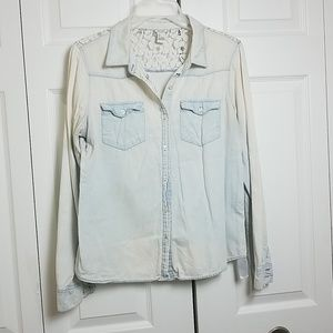 Forever 21 Faded Lace Denim Chambray Shirt
